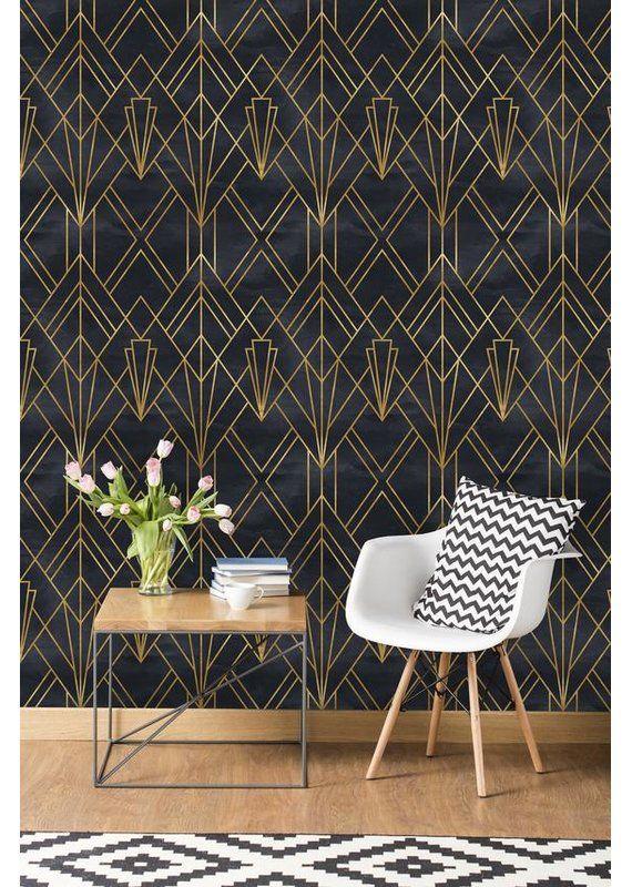 Cortez Removable 10 L X 25 W Peel And Stick Wallpaper Roll Art Deco Wallpaper Art Deco Interior Home Wallpaper