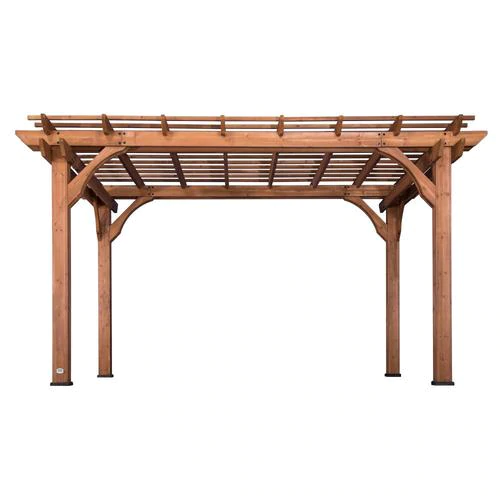 Backyard Discovery 10 X 14 Pergola 10 Ft W X 14 Ft L X 7 Ft 10 3 4 In Brown Wood Freestanding Pergola Lowes Com In 2020 Wood Pergola Pergola Cedar Pergola