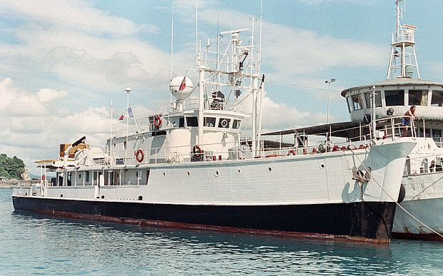 The Calypso, research ship of late French oceanographer Jacques Cousteau arrives at Batangas port 15 November.
