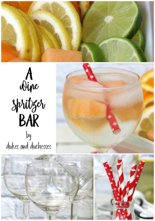 a simple wine spritzer bar is a great way to entertain in the summer months