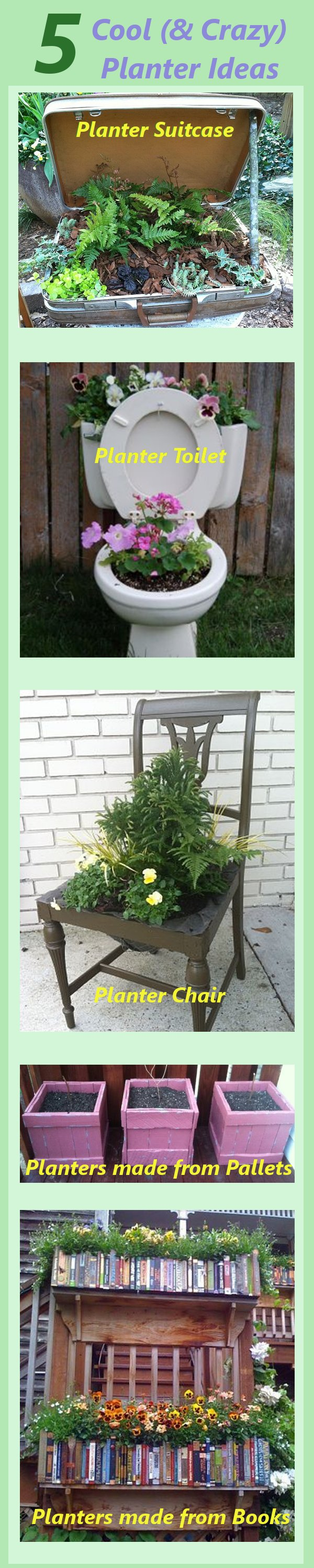 5 cool and sometimes hilarious planter ideas from for Recycled garden ideas pinterest