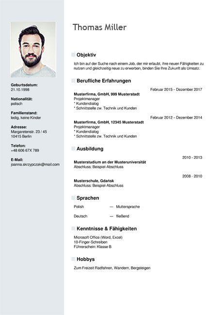 example resume in german template