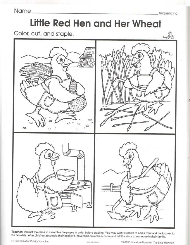 Little Red Hen Sequence Cards Uk Relationy Eduacation Paper
