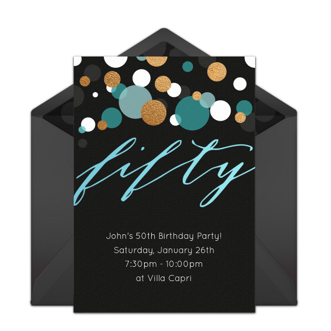 Customizable Free Fifty Online Invitations Easy To Personalize And Send For A 50th Birthday Party Punchbowl