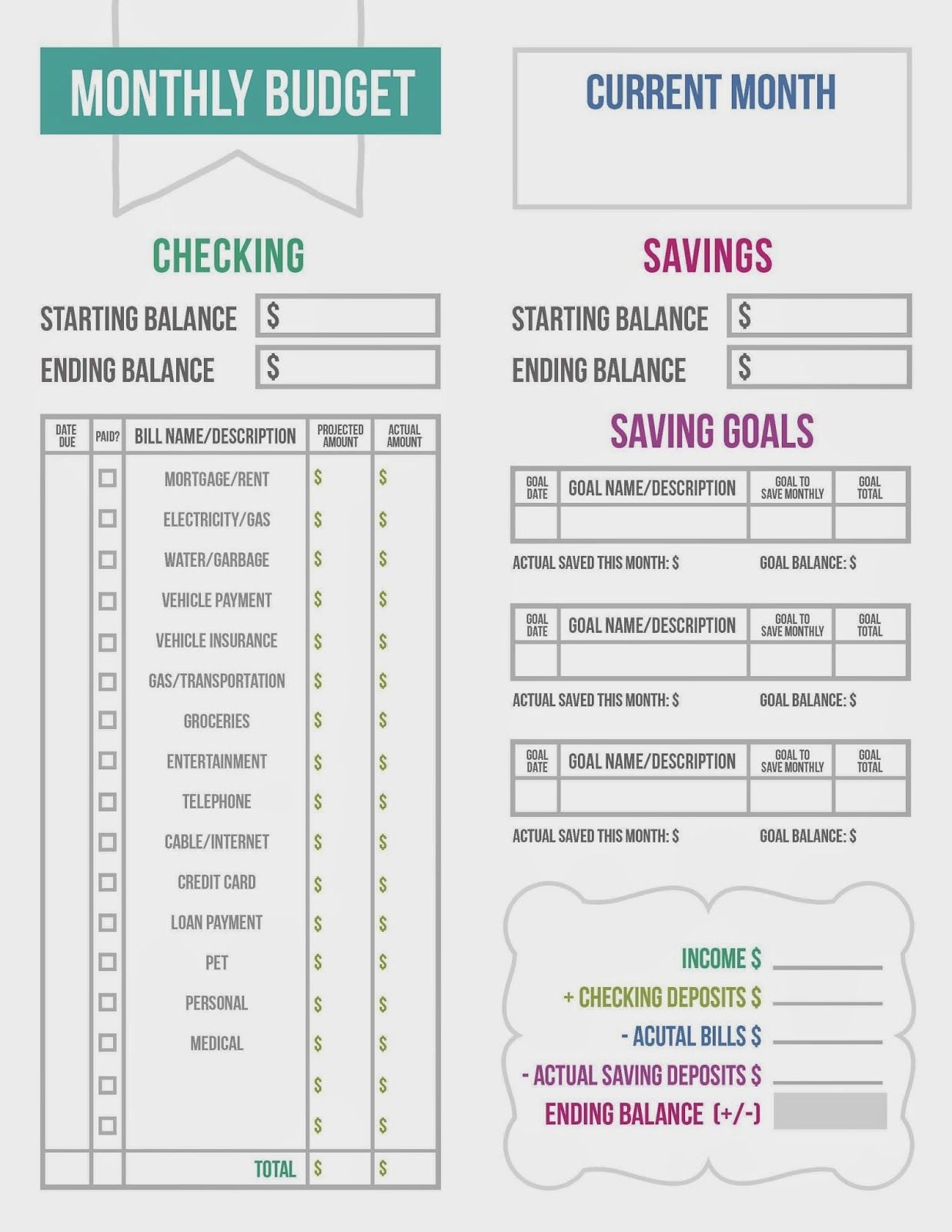 Budget Printable On Life As The Rotundo S