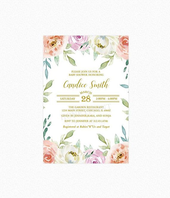 Floral baby shower invitations spring baby shower invitation baby floral baby shower invitations spring baby shower invitation filmwisefo