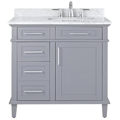 Home Decorators Collection Sonoma 36 In W X 22 In D Bath Vanity In Dark Charcoal With Carrara Marble Top With White Sinks 8105100270 The Home Depot In 2020 Home
