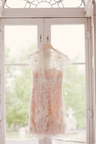 blush and lace bridal boudoir piece from Watters   http://burnettsboards.com/2013/12/romantic-boudoir-inspiration-board/