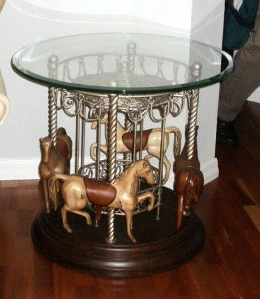 4 Horse Carousel Round End Table