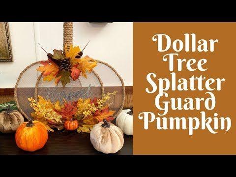 Dollar Tree Fall Crafts: Dollar Tree Splatter Guard/ Splatter Screen Pumpkin - YouTube #dollartreecrafts