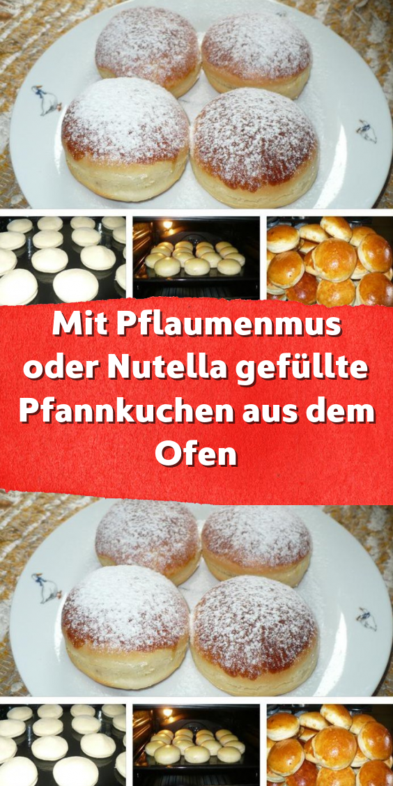 Mit Pflaumenmus oder Nutella gefüllte Pfannkuchen aus dem Ofen #kuchenkekse