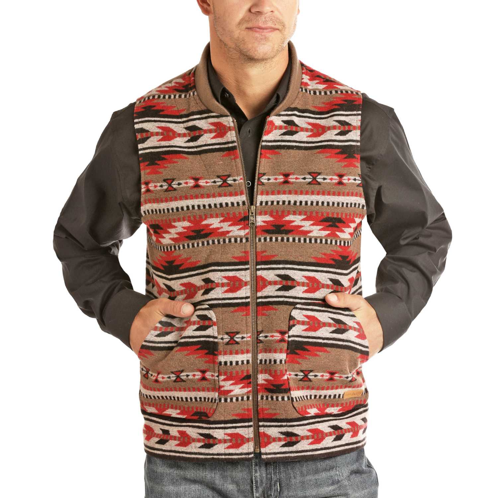 Panhandle Slim Mens Jacquard Wool Red Aztec Vest Mens Western Wear Aztec Vests Western Wear [ 1000 x 1000 Pixel ]