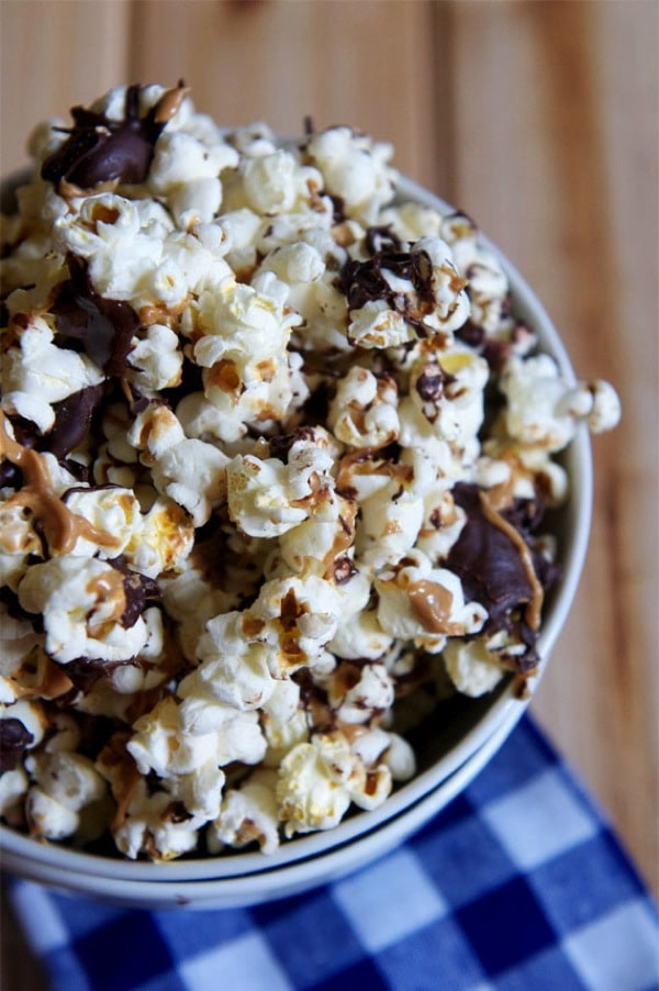 Chocolate Peanut Butter Popcorn-The Almond Eater