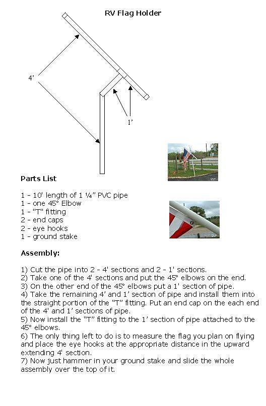 Rv Pvc Flagpole Flag Pole Plans Instructions Pvc Flag Pole Flag Pole Camping Flagpole