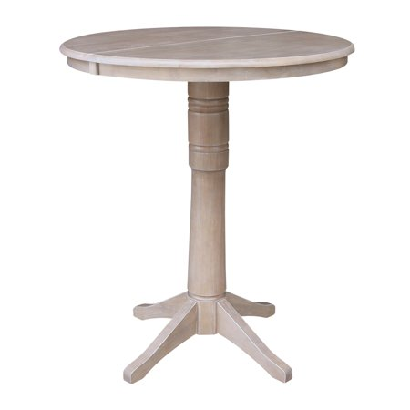 36 Inch Round Bar Height Table With 12 Inch Leaf Washed Gray
