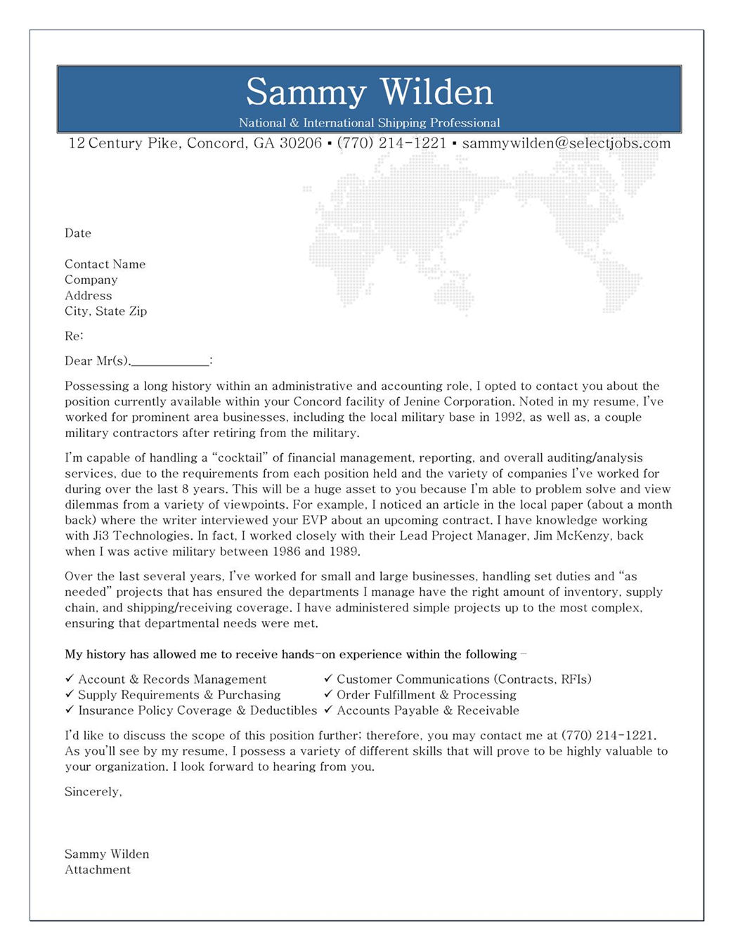 Cover Letter Example for Shipping Receiving Professional – Professional Cover Letters Examples