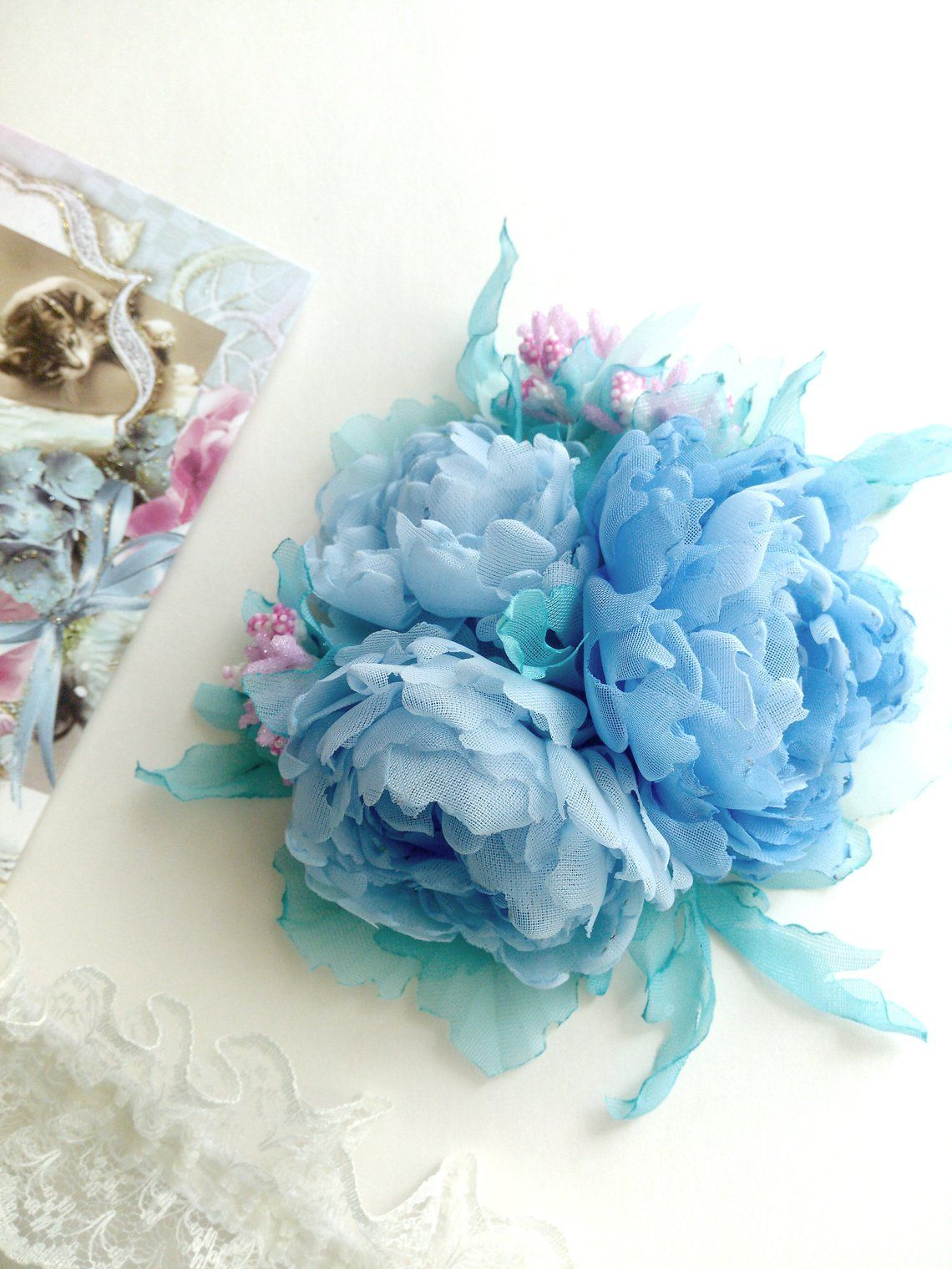 Items similar to Flower hair clip, fabric flower brooch, light blue chiffon flowers vintage, blue peonies fabric, boho chiffon flower, light blue brooch on Etsy #bluepeonies