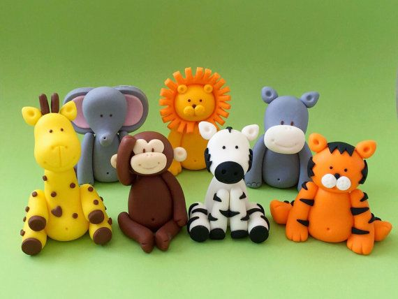 5 Fondant animals cake topper.  Safari jungle animals baby shower / birthday cake topper
