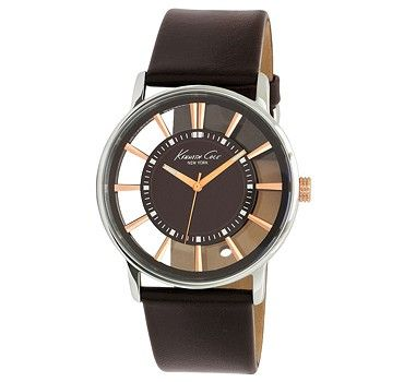 Special Offers Available Click Image Above: Kenneth Cole Mens New York Analog Stainless Watch - Brown Leather Strap - Black Dial - Kc1781