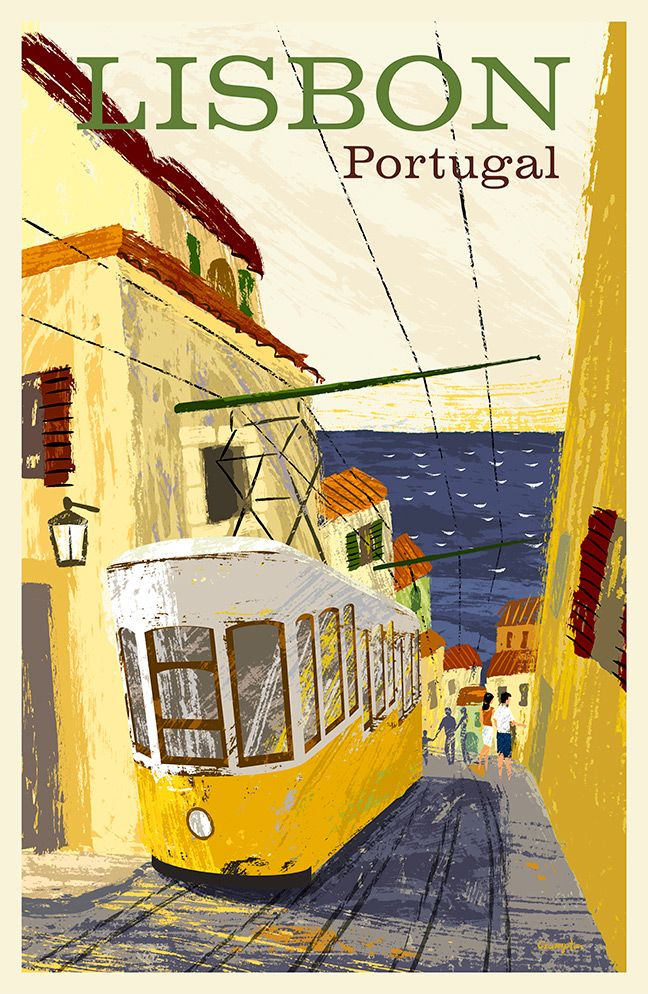 Lisbon Portugal Travel Poster Showing The City S Famous