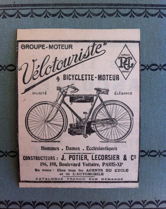 Vintage Bicycle Ad Newspaper Ad From France By Acertaindestiny