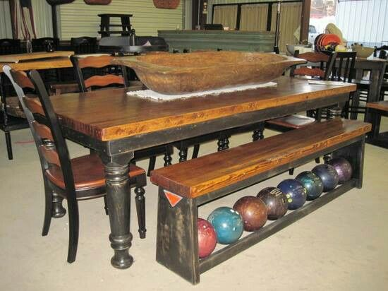 Good Bowling Alley Lane Table And Ball Rack Bench!