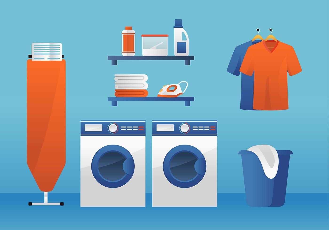Laundry Room Ironing Board Free Vector | Vector art design ...