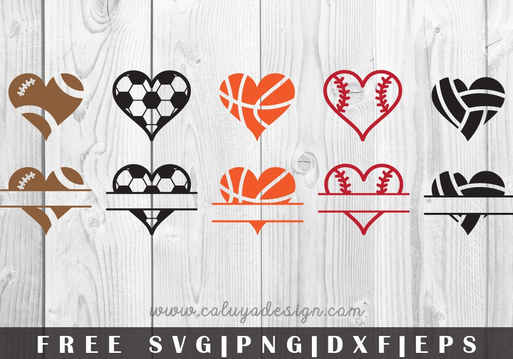 Sport Hearts FREE SVG, PNG, EPS & DXF by Cricut
