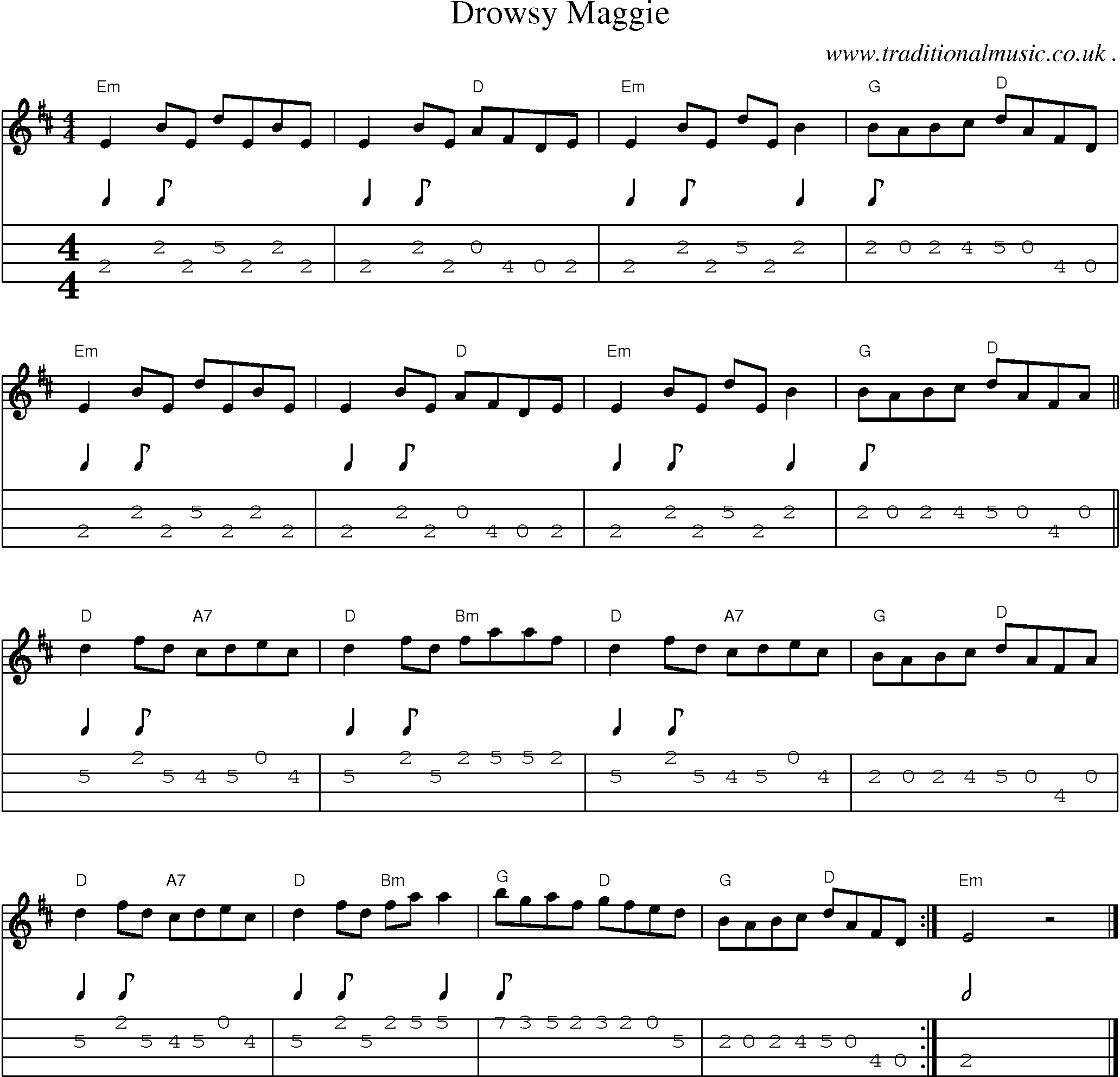 Sheet music and mandolin tabs for the drunken sailor mandolin common session tunes scores and tabs for mandolin drowsy maggie hexwebz Images