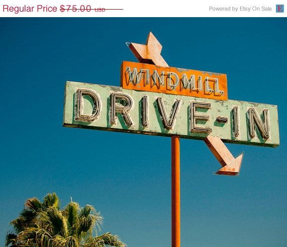 SALE Vintage Windmill Drive In Theater Neon Sign