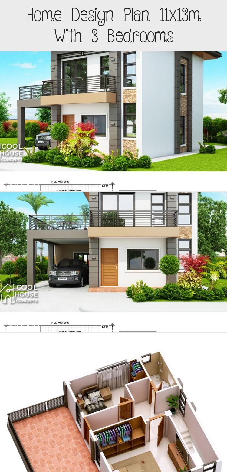 Home Design Plan 11x13m With 3 Bedrooms Home Design With Plansearch Indiansmallhouseplans Smallhouseplanske Home Design Plan House Design Small House Plans