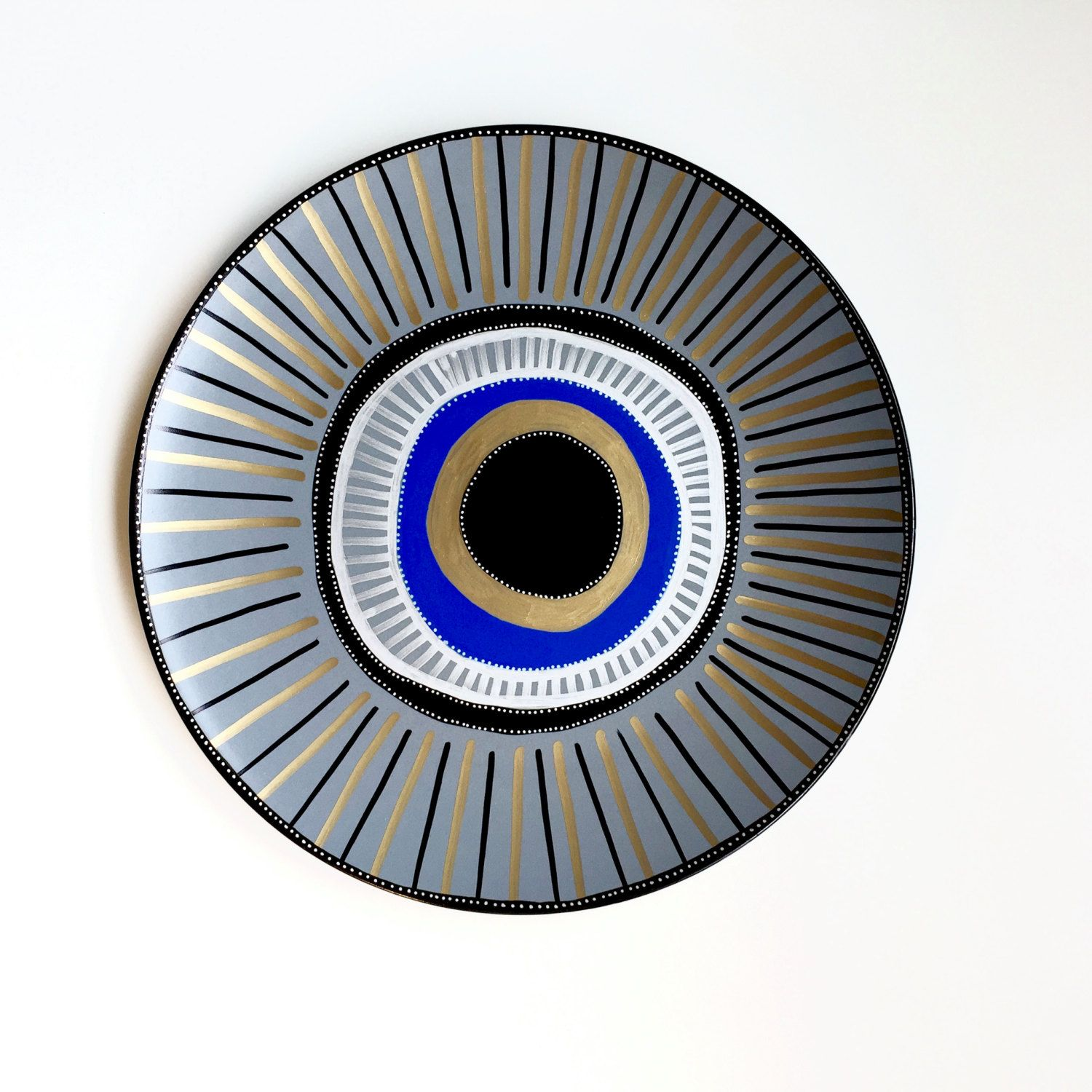 Evil Eye Decor - Wall Evil Eye - Evil Eye Wall Art - Porcelain Evil Eye - Wall Hanging - Golden Evil Eye Decor - Blue Evil Eye Decor - by biancafreitas on Etsy