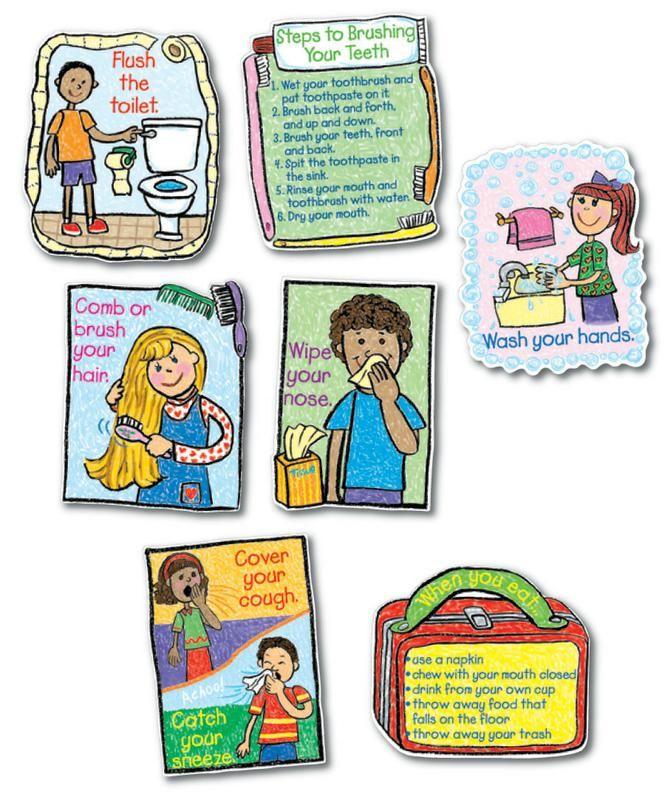 Carson Dellosa Hygiene KidDrawn Bulletin Board Set