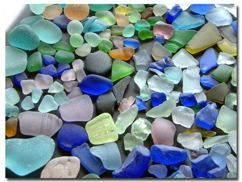 Learn about the different colors of sea glass, and the rarity of each variety.