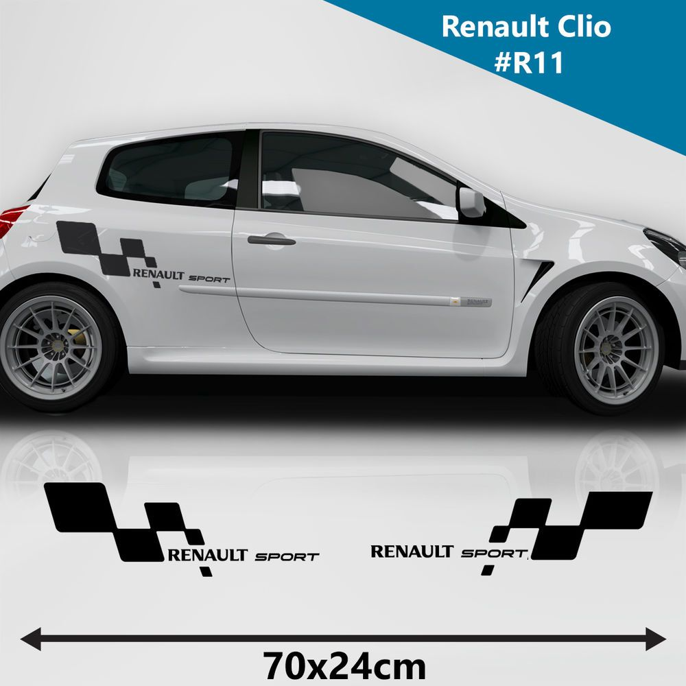 Renault sports full kit side racing stripes decal graphics car size 70x24 cm hexisritrama