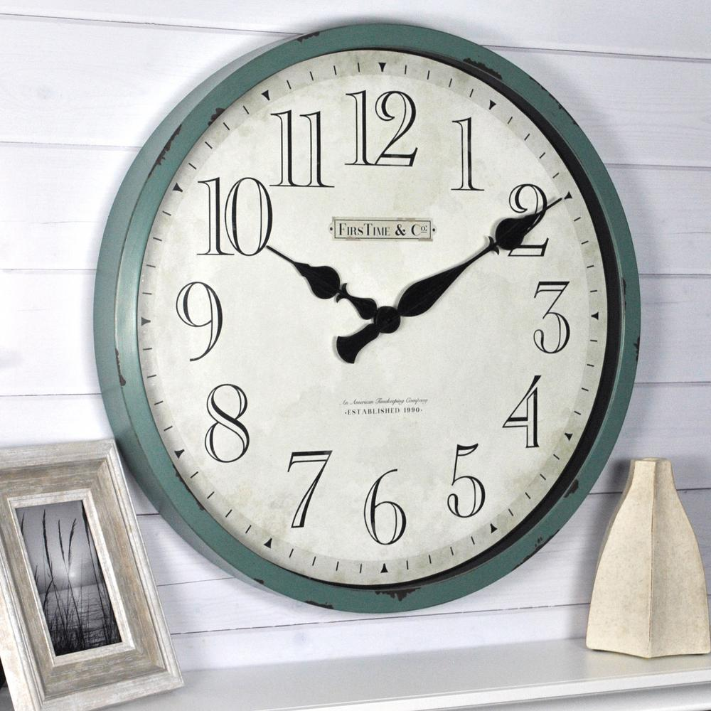 Firstime 24 In Bellamy Wall Clock 10065 The Home Depot Teal Wall Clocks Wall Clock Gear Wall Clock