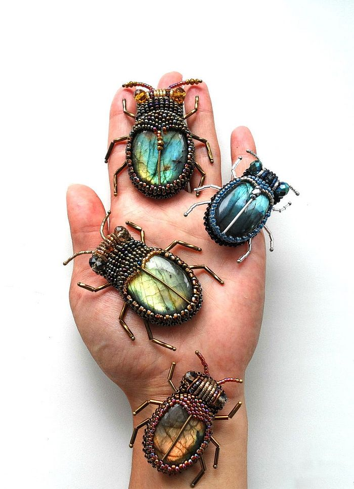 Beautiful bead embroidered bugs & beetles #beads