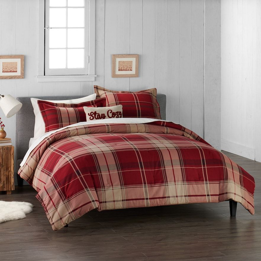 RED PLAID 4pc King COMFORTER SET LODGE CABIN BLACK WOVEN JACQUARD BEDDING