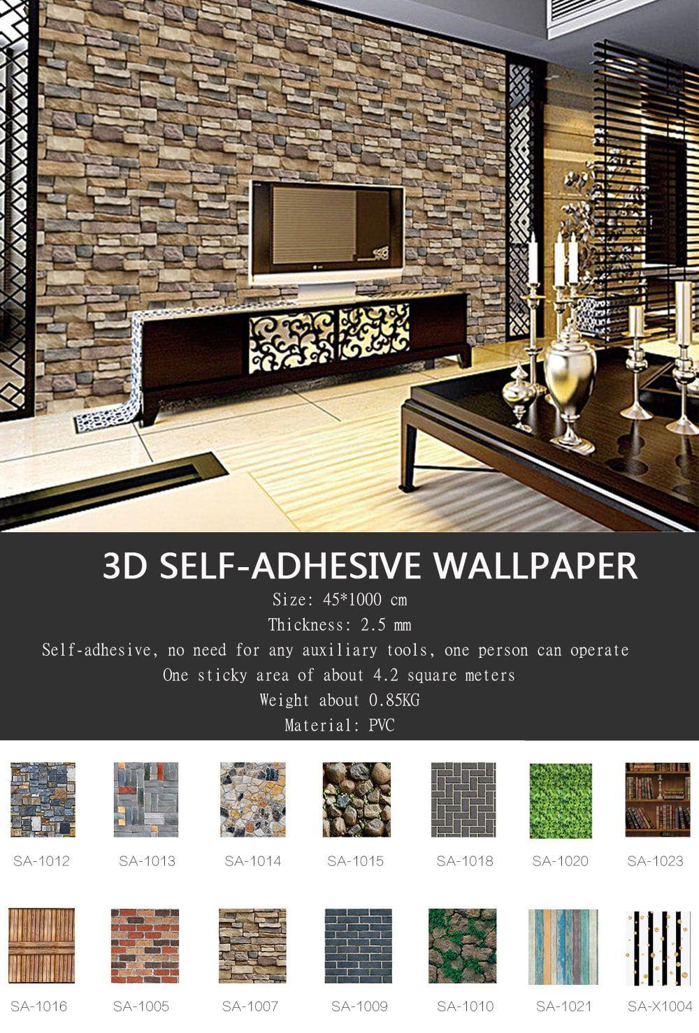 10m Long 3d Pvc Thick Self Adhesive Living Room Bedroom Bar Creative Wallpaper Bedroom Bar
