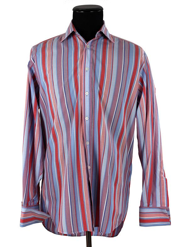 Vintage Men's Shirt / Harvie and Hudson of London / Bespoke Shirt / Blue & Red Stripes / French Cuffs / Jerym St. Tailors Since 1949