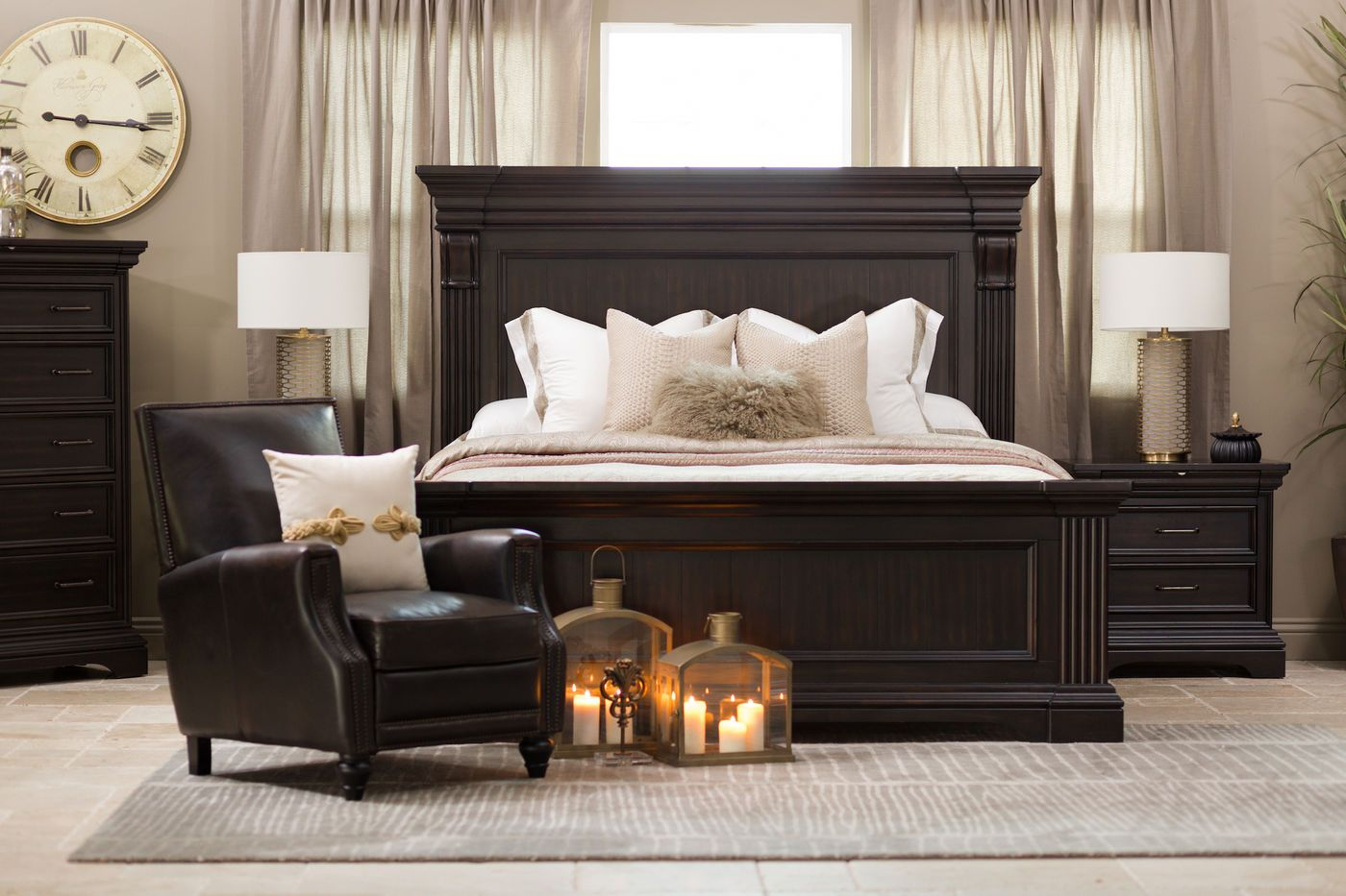 """70"""" traditional distressed panel bed in black  bedroom"""