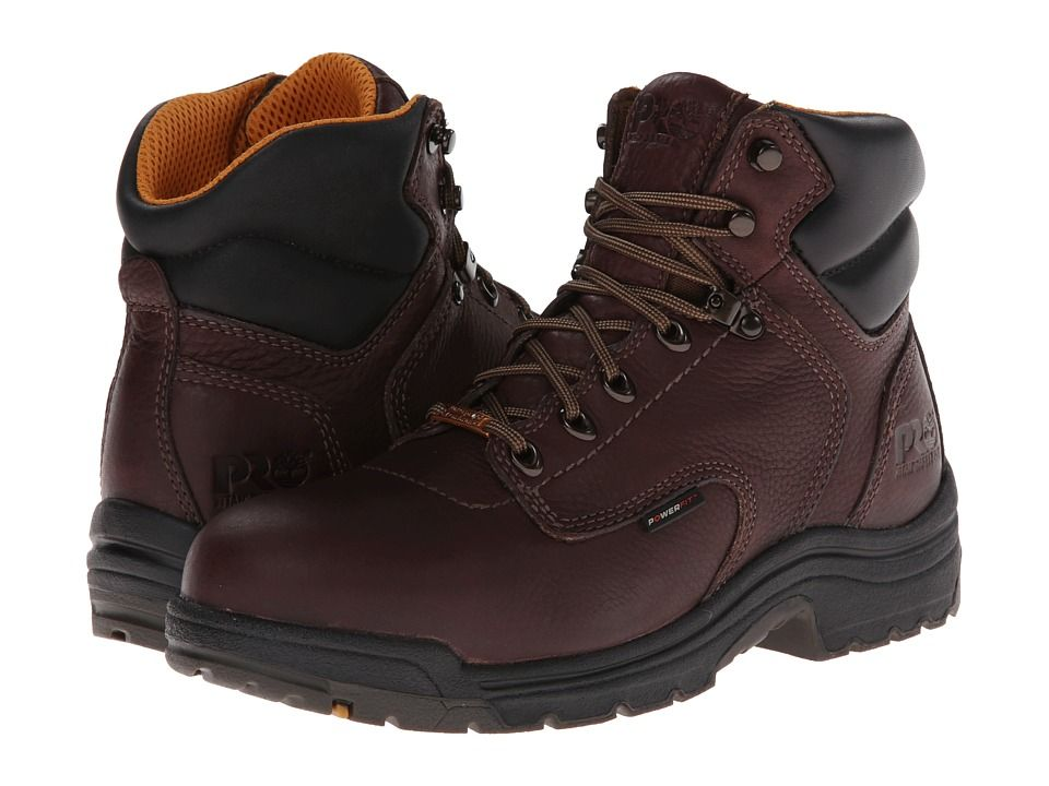 Timberland PRO TiTAN(r) Waterproof 6 Alloy Safety Toe Men's Work Lace-up Boots  Dark Mocha Full-Grain Leather
