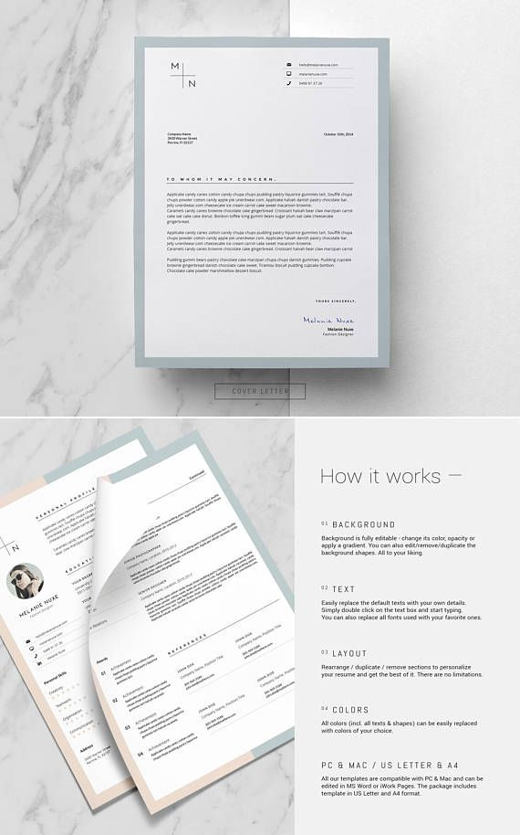 Clean Resume Template and Cover Letter by This Paper Fox on @Etsy
