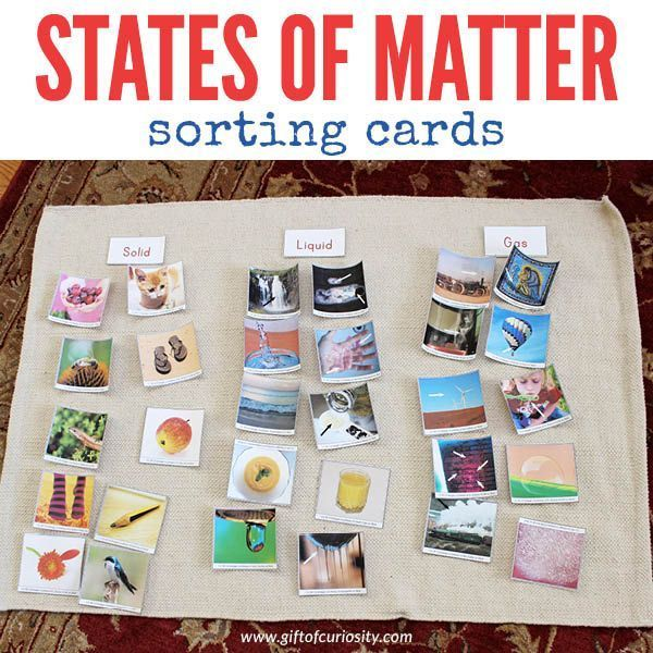 Free printable States of Matter sorting cards for kids to learn about solids, liquids, and gasses. Great science activity for preschool or kindergarten.
