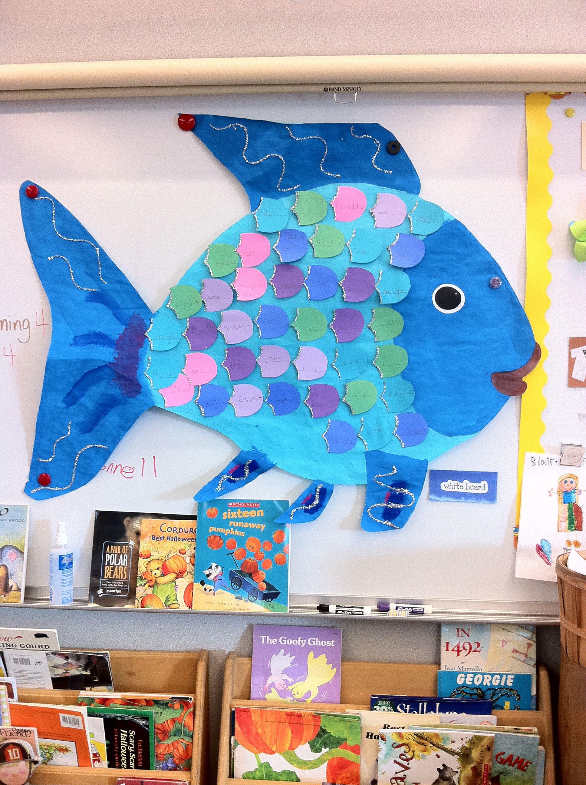 Giant Rainbow Fish Kids Write Down Friendship Words On