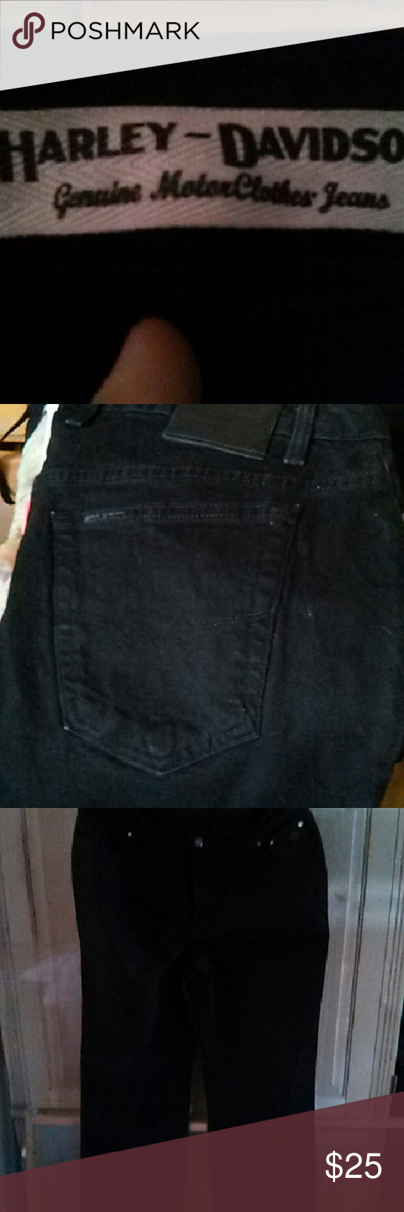 Harley davidson jeans H.D. womens black jeans size 22 boot cut in excellent condition Harley-Davidson Jeans Boot Cut