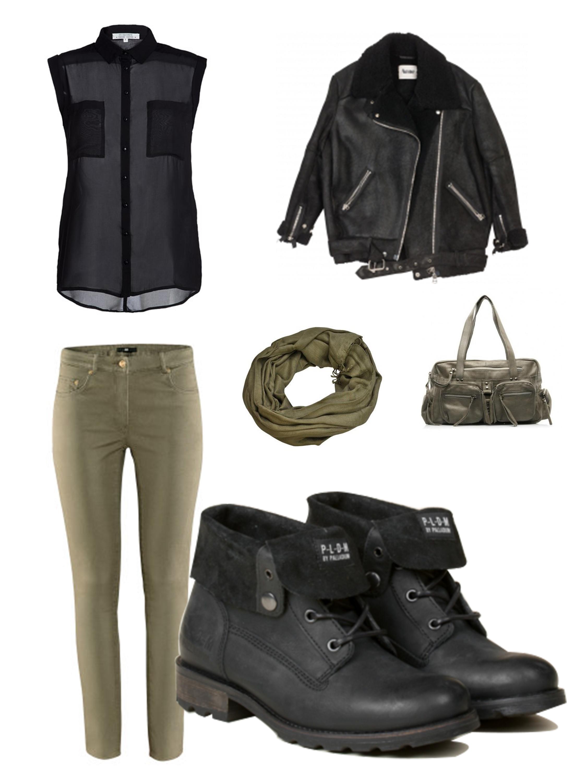 Une tenue parfaite pour allez avec nos ULMIN. Jean kaki, chemisier noir,  bomber noir et des accessoires kaki pour habiller le tout. Soyez belle en  PLDM. fe94f8190e99
