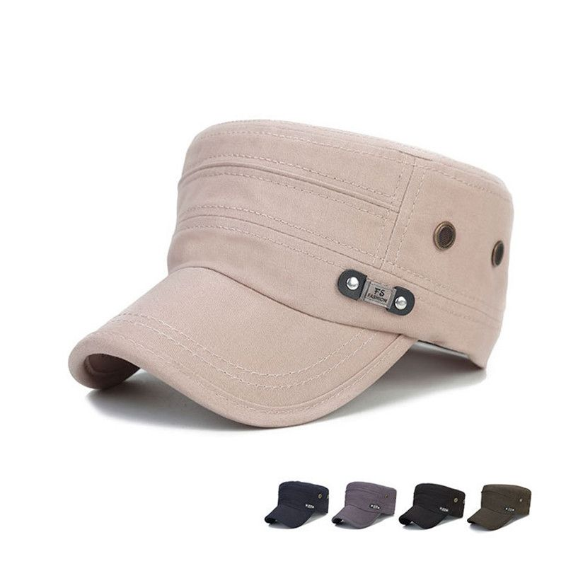 ac6257b35ee BomHCS Cotton Men s Army Cap Baseball Cap Breathable Adjustable Sun Hat  Flat Cap F1736MZ5