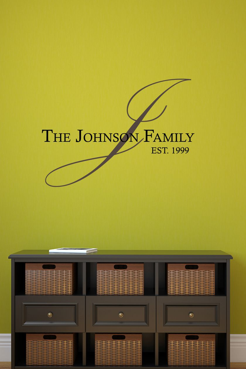 Established Family Name Vinyl Wall Decal | Wall decals, Walls and ...