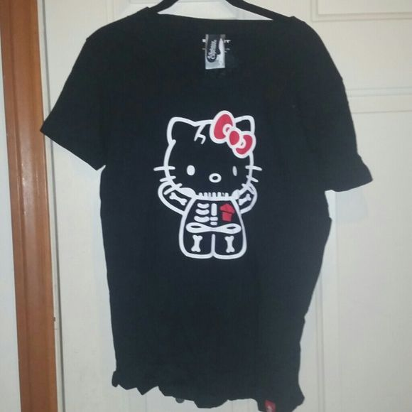 Limited edition hello kitty johnny cupcake t Limited edition hello kitty johnny cupcake t Skeleton kitty Xl Worn once Halloween  Limited edition Hello Kitty Tops